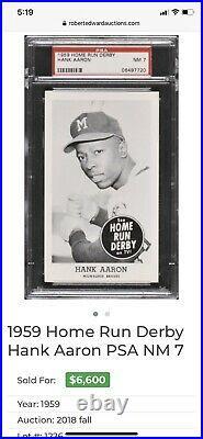 1959 Home Run Derby Hank Aaron SGC / PSA 3