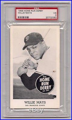1959 Home Run Derby Willie Mays Psa 3 Vg Nq Pop 2