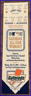 1992 Home Run Derby Full Ticket McGwire Beats Bonds, Griffey, Ripken, Walker