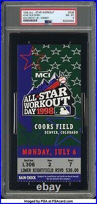1998 MLB All Star Game Ken Griffey Jr Home Run Derby Ticket Stub PSA 8 Coors