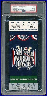 1999 All Star Game Home Run Derby Full Ticket PSA 10 Gem MInt Fenway Park