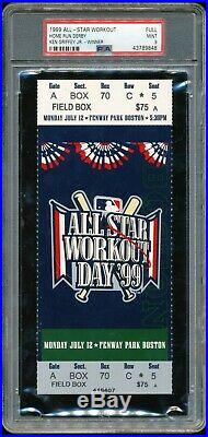1999 All Star Game Home Run Derby Full Ticket PSA 9 MInt Fenway Park(PL)