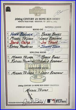 2004 MLB Home Run Derby Signed Duplicate Lineup Card 8 Signatures MLB Hologram