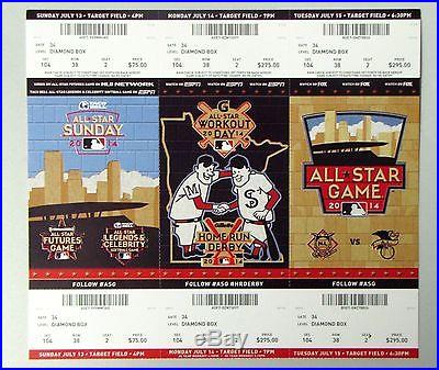 2014 MLB ALL-STAR GAME FULL EVENT UNUSED TICKET STRIP STUBS HOME RUN DERBY