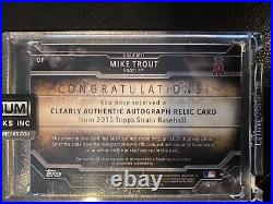 2015 Strata Mike Trout Home Run Derby Used Patch Autograph /50