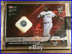 2018 Topps NOW HRD-13A Jesus Aguilar Milwaukee Brewers Home Run Derby Ball Relic