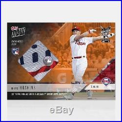 2018 Topps NOW MLB HRD-17D Rhys Hoskins Home Run Derby Sock Relic /5 RC Orange