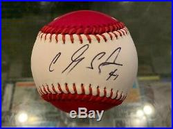 2019 Carlos Santana Cleveland Indians Signed Homerun Derby Baseball Jsa Mint