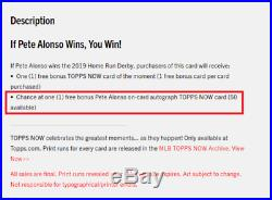 2019 Topps Now Home Run Derby Pete Alonso RC Winner Bonus On Card Auto Exclusive