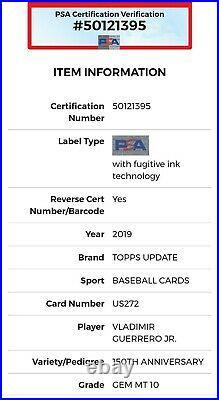 2019 Topps Update 150th Anniversary Stamp VLADIMIR GUERRERO JR. Rookie PSA 10