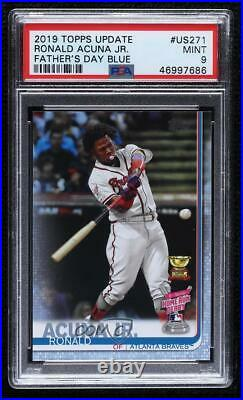 2019 Update Home Run Derby Father's Day Blue /50 Ronald Acuna Jr Acuña PSA 9