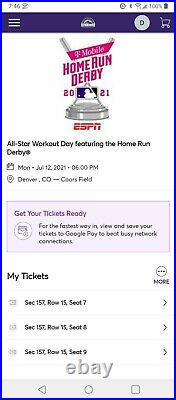 2021 Home Run Derby Tickets At Coors Field x3