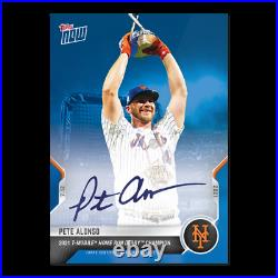 2021 Topps Now #504b Pete Alonso Auto /49 T-mobile Home Run Derby Champion