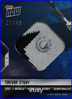 2021 Topps Now Home Run Derby TREVOR STORY Sock Relic Blue /49