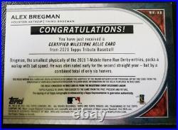 2021 Topps Tribute Alex Bregman Milestone Relic Auto 1/1 Home Run Derby Ball