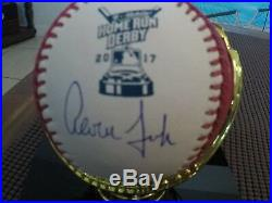 Aaron Judge Autographed Homerun Derby Baseball NY YANKEES with stand