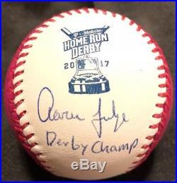 Aaron Judge Signed Baseball 2017 Home Run Derby Ball Derby Champ Inscrip JSA