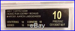 BGS 10 Black LABEL PRISTINE Topps Now AARON JUDGE Home Run HR Derby BONUS Rc
