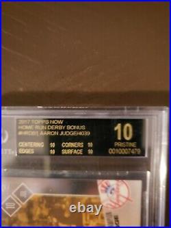 Bgs Black Label Pristine 10 Aaron Judge Home Run Derby Hrdb-1 Bonus Rookie Card