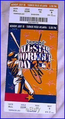 Chipper Jones Signed 2000 All-star Game Home Run Derby Ticket Atlanta Braves