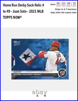 Home Run Derby Sock Relic # to 49 Juan Soto 2021 MLB TOPPS NOW Presale