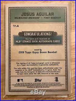 Jesus Aguilar 2019 Gypsy Queen SSP 1/1 Homerun Derby Sock Autograph
