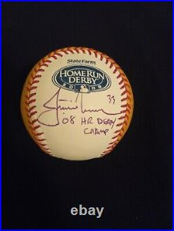 Justin Morneau Autographed 2008 Home Run Derby Baseball with 08 Derby Champ Insc