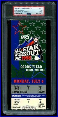 Ticket Baseball 1998 All-Star Full Home Run Derby Ken Griffey Jr. Winner PSA 7
