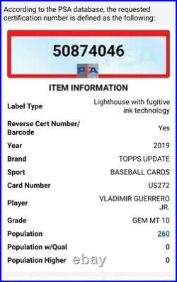 Vladimir Guerrero Jr Rookie Card PSA 10! 2019 Topps Update