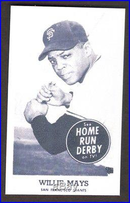 WILLIE MAYS Card REPRINT Home Run Derby #14 Giants 1959 3-1/2 x 2-1/8
